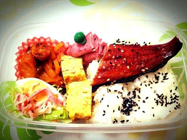 久しぶりに焼き魚を入れました。 今日も勉強がんばれ - 43件のもぐもぐ - 小6男子塾弁当(夕食)                 ほっけのみりん干し、ゆで卵のサラダ、卵焼き、ナポリタンうどん、サラミ by Takayuki