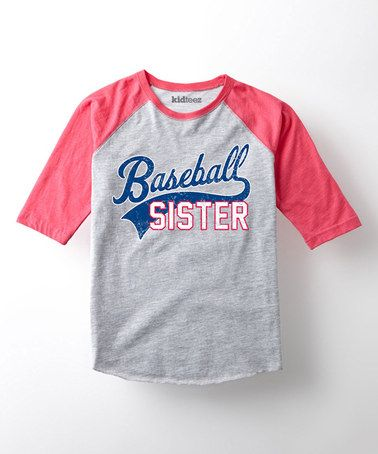 Athletic Heather U0026 Pink U0027Baseball Sisteru0027 Raglan Tee   Toddler U0026 Girls