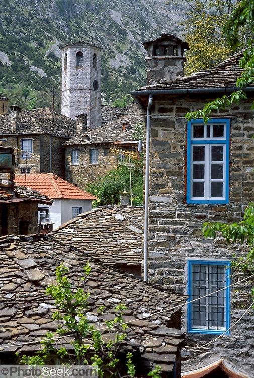 Houses in Tsepelovo village in Greece