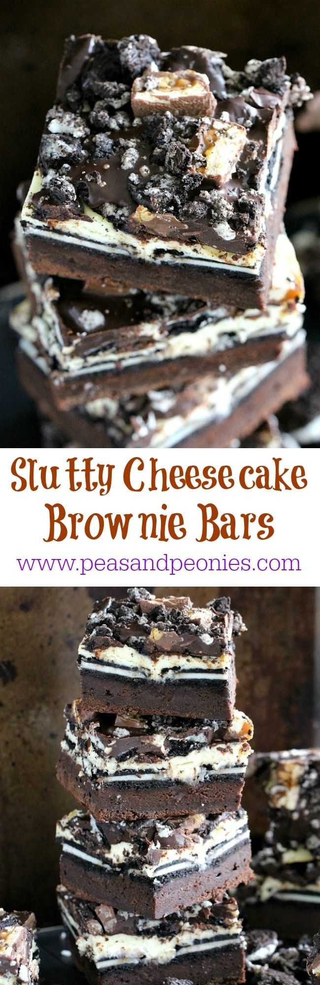 Slutty Cheesecake Brownie Bars made with a layer of fudgy brownie, Oreos, cheesecake, chocolate ganache and chopped Snickers bars.