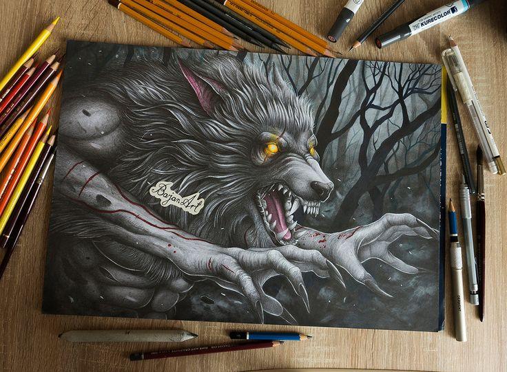 Werewolf drawing by Bajan-Art.deviantart.com on @DeviantArt