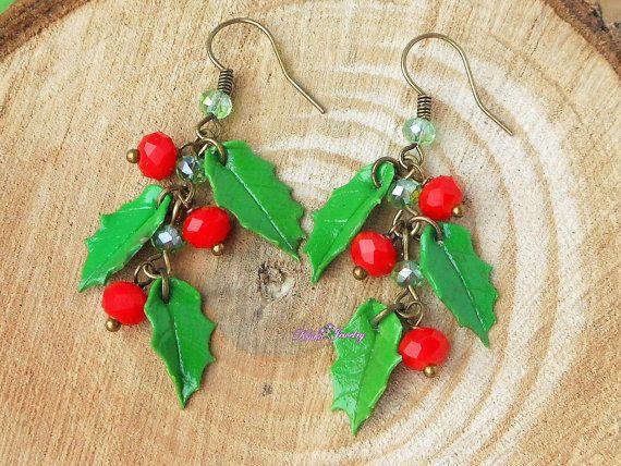 Cluster Holly Berry Navidad joyas hechas a mano de polímero