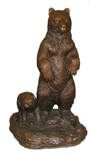 Bear And Cub At The Pond Bronze Sculpture. Suitable For Outdoor Garden Use.  Available
