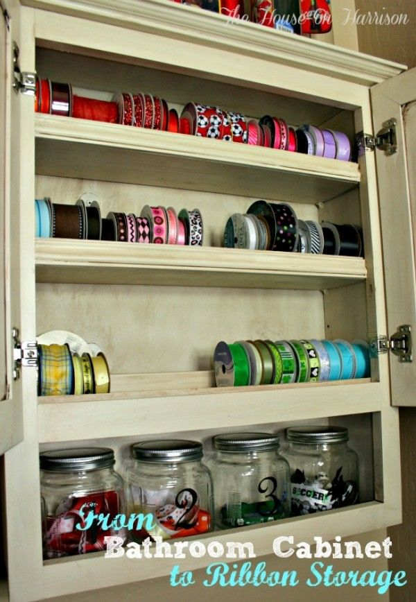 Bathroom Cabinet turned Ribbon Storage Totally need