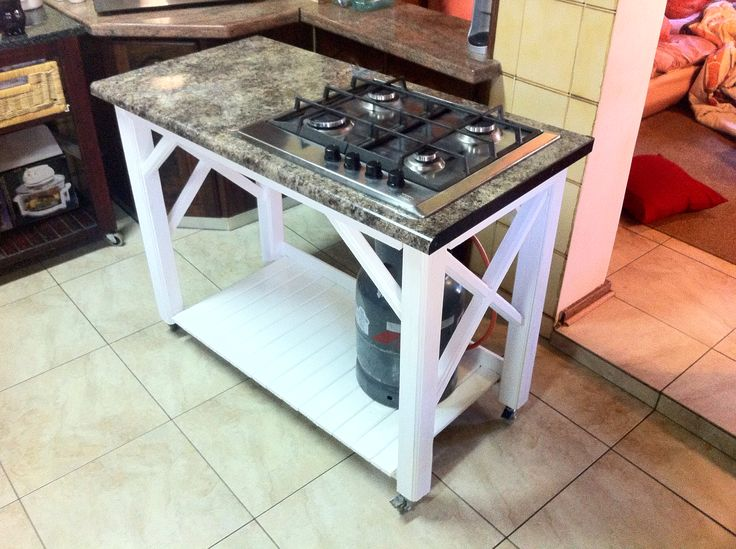 Butchers block with gas hob built from scrap wood