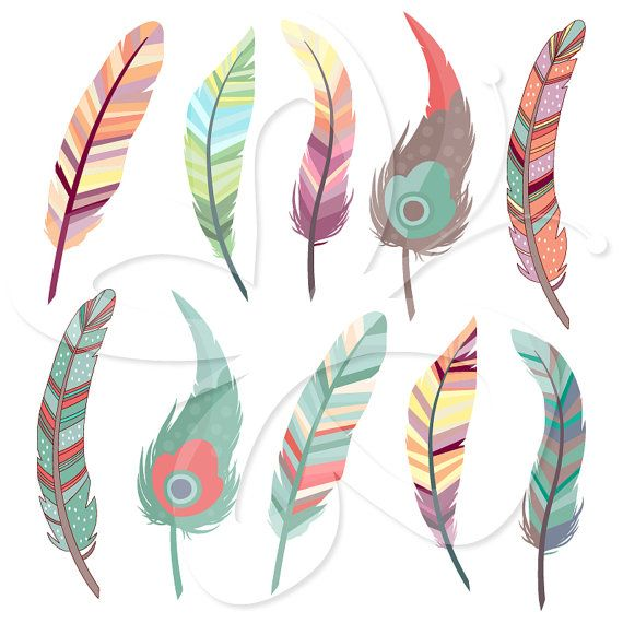 [Beautiful Feathers Clip Art Clipart Set  by CollectiveCreation, $4.00]  #digitalpaper