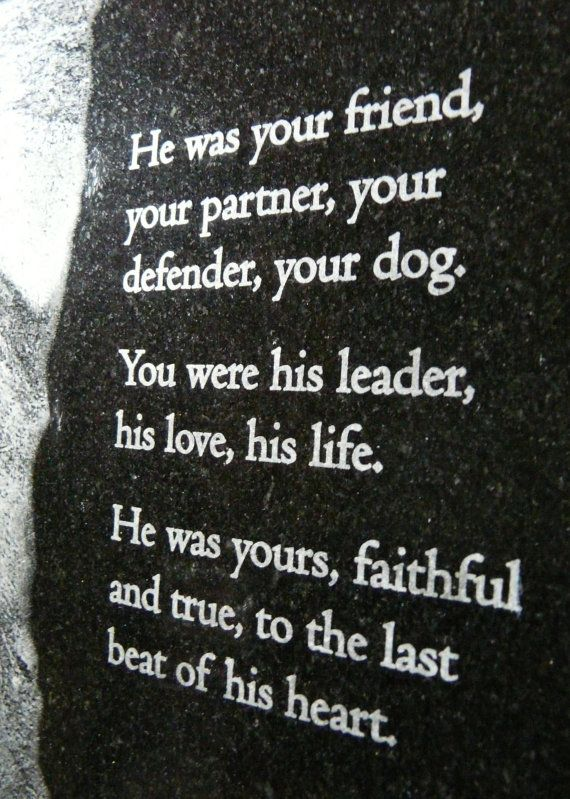 He was your friend, your partner, your defender, your dog. You were his leader, his love his life. He was yours, faithful and true, to the last beat of his heart. Beautiful verse for a service dog, drug dog, German Shepherd, GSD, police dog, bomb-sniffing dog, or other beloved pet.