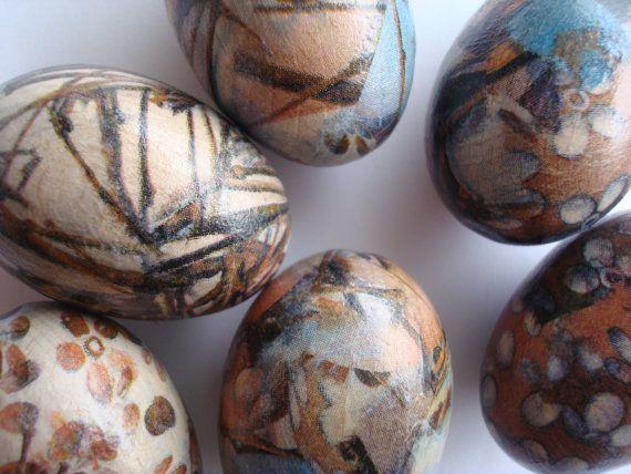 Decoupaged eggswooden eggssmall eggs Easter by Valelval on Etsy