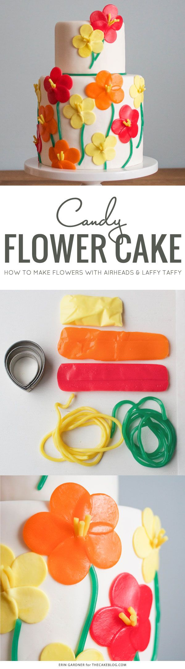 Learn how to make this floral cake using Airheads and Laffy Taffy candy. A step-by-step tutorial by Erin Gardner for TheCakeBlog.com.