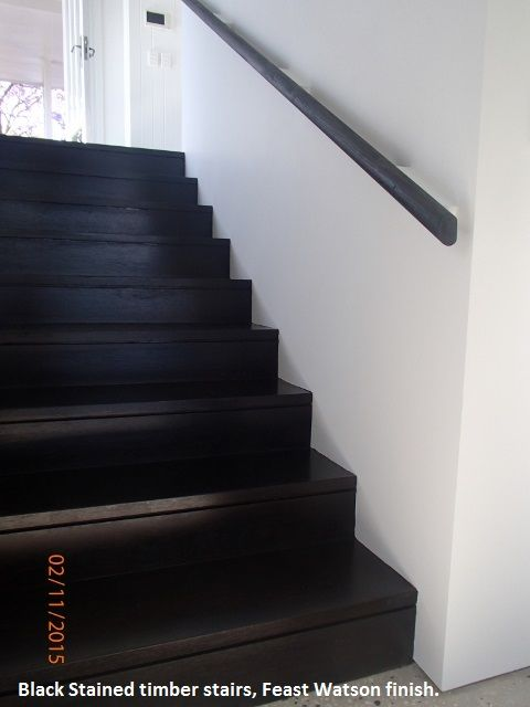 Black stained timber stairs, Feast Watson finish