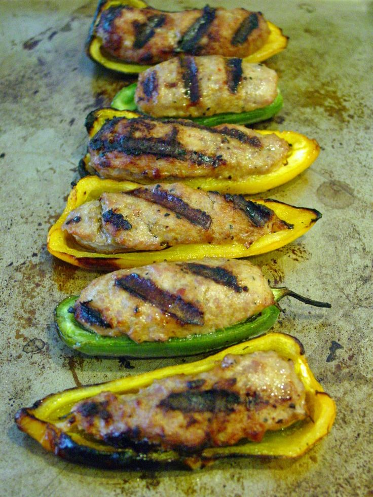 Grilled Italian Sausage Stuffed Peppers