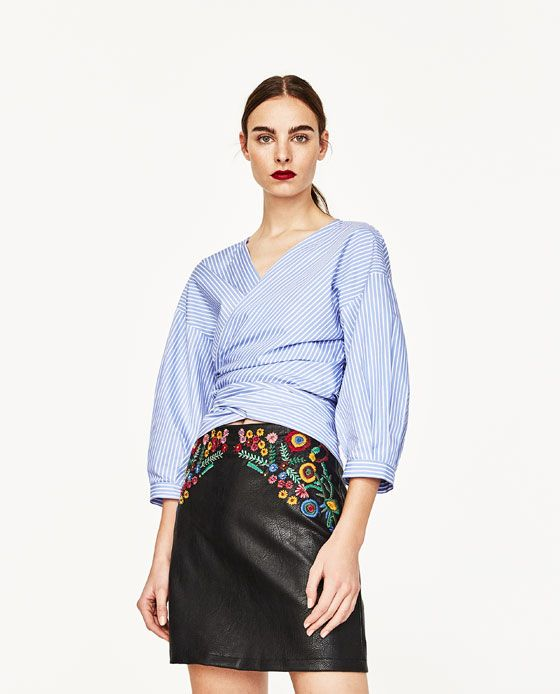 Image 4 of FLORAL EMBROIDERY SKIRT from Zara