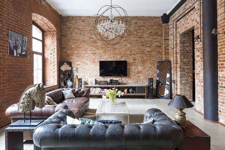 Casas especiais: tijolo vermelho, baterias modernas, clássicas e industriais com um loft espetacular
