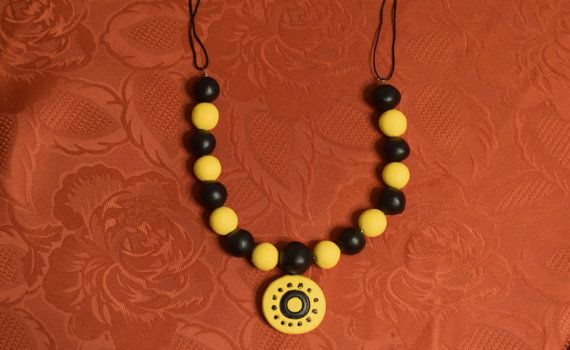 Rustic necklace Yellow and black beads necklace by FunWithPearl