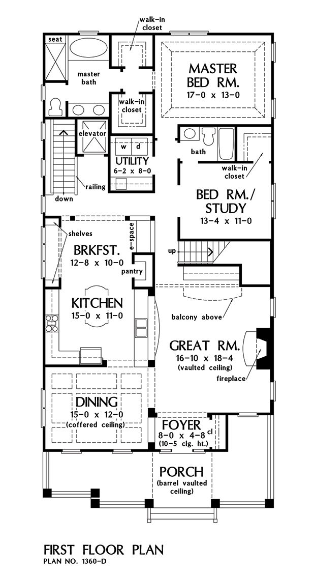 Bungalow House Plans For Narrow Lots Part - 22: First Floor Plan Of The Amelia - House Plan Number 1360-D