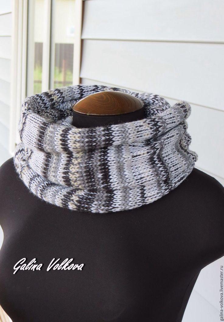Купить Вязаный шарф хомут снуд мужской женский Монохром - чёрно-белый, монохром, шарф