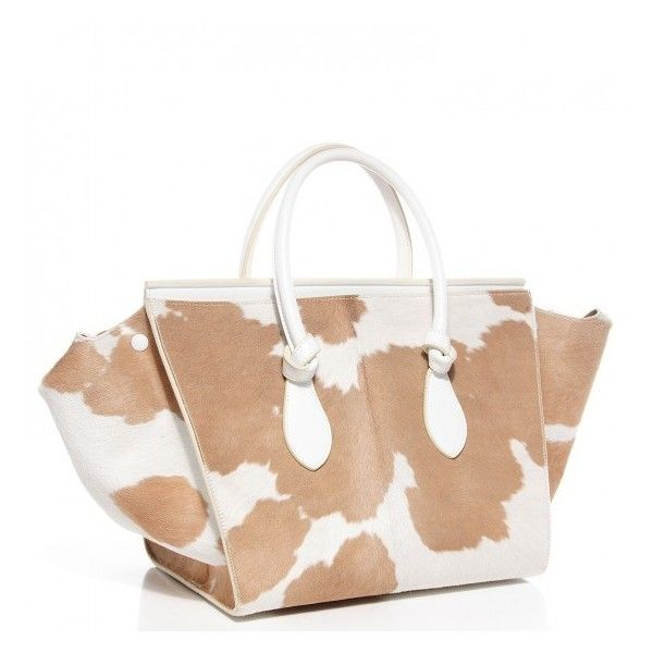 CELINE Smooth Calfskin Pony Hair Medium Tie Knot Tote Natural ...