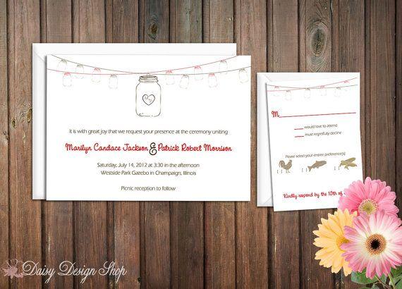 Wedding Invitation  Mason Jars Hanging on a von DaisyDesignShop