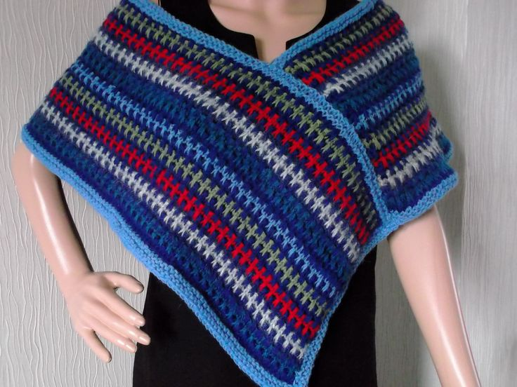 Hand knitted slipstitch poncho, shawl made from up cycled yarn in rainbow of colours in Dorset by Stitchesincolour on Etsy