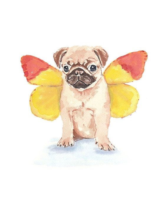 Pug Watercolor PRINT - Butterfly Wings, Funny Painting, Dog Illustration, 8x10 Art Print
