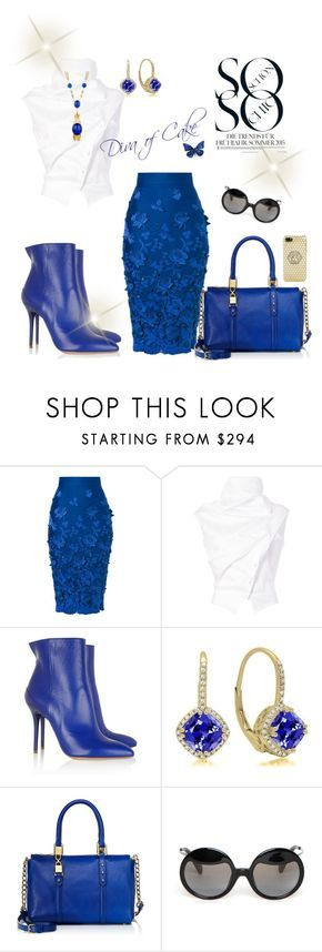 """White blue and gold outfit"" by Diva of Cake on Polyvore featuring Ermanno Scervino, Aganovich, Trina Turk, Maison Margiela, Juicy Couture, Yohji Yamamoto and Versace"