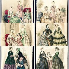 """Kavel van 6 ingekleurde gravures, thema """"2 vrouwen en een meisje"""" - Franse mode midden 19de eeuw"""