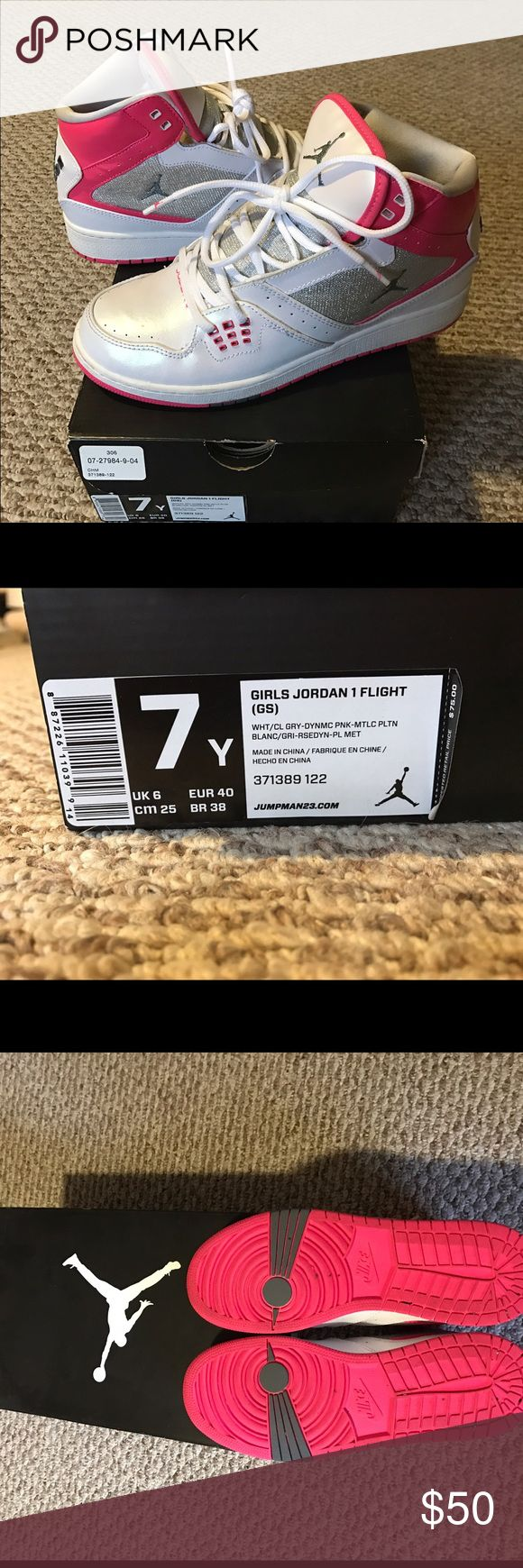 Jordan flight size 7Y Jordan 7Y white and pink high top. Only worn a few times and stored in box. Jordan Shoes Athletic Shoes