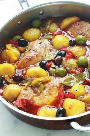 Poulet Aux Poivrons Pommes De Terre Oignons Olives Recette