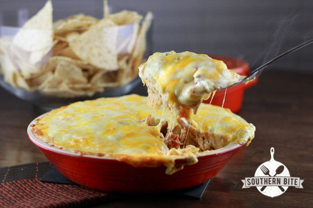 Sour Cream Chicken Enchilada Pie recipe from Southern Bite. Everything you love about enchiladas but way easier.
