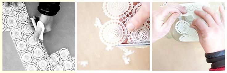 Lace embellished moccona coffee jar