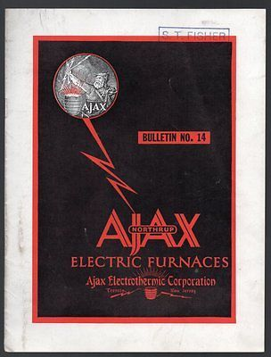 AJAX - NORTHRUP ELECTRIC FURNACES Bulletin No. 14 1941 w/ Price List BROCHURE