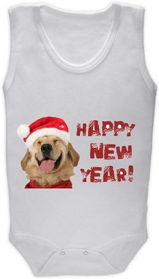Köpekli - Happy New Year - Golden Retriever Kendin Tasarla - Bebek Zıbın