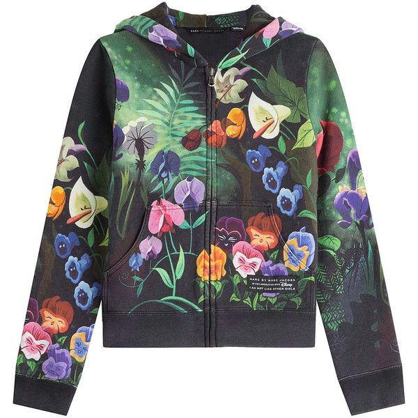 Marc by Marc Jacobs x Disney Garden Printed Zipped Cotton Hoody (4,305 MXN) ❤ liked on Polyvore featuring tops, hoodies, florals, black zip hoodie, black hoodie, zip hooded sweatshirt, graphic hoodies and black zipper hoodie