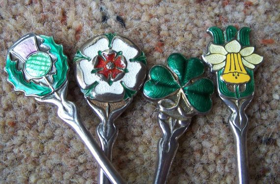 4 Silver and enamel tea spoons depicting the by AntiquesCabin