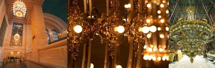 "(1992 & 2008) Bronze Chandeliers ""A closer look at the grand chandeliers created by the Sterling Bronze Company for Vanderbilt Hall and the Main Concourse reveals countless acorns and oak leaves, symbols of the Vanderbilt family."""