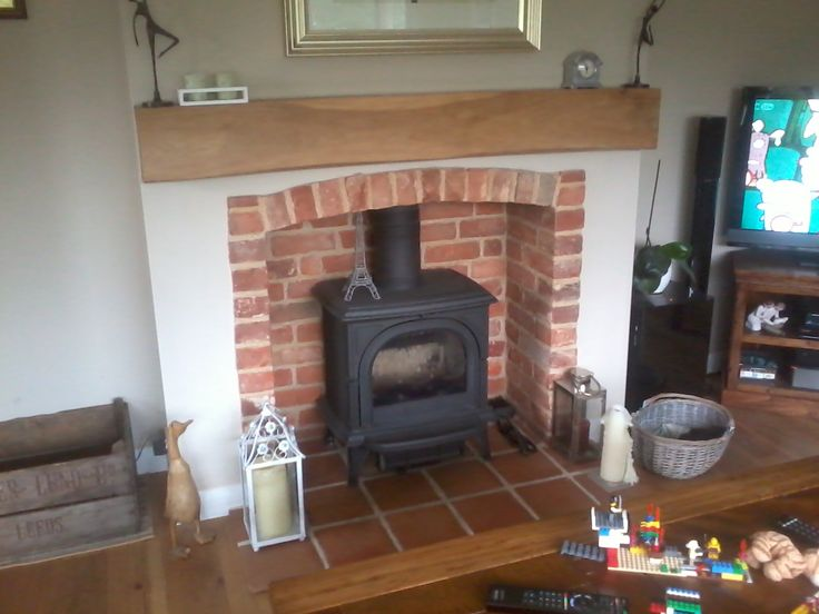 My Friends Log Burner And Fireplace. I Like The Exposed Bricks.
