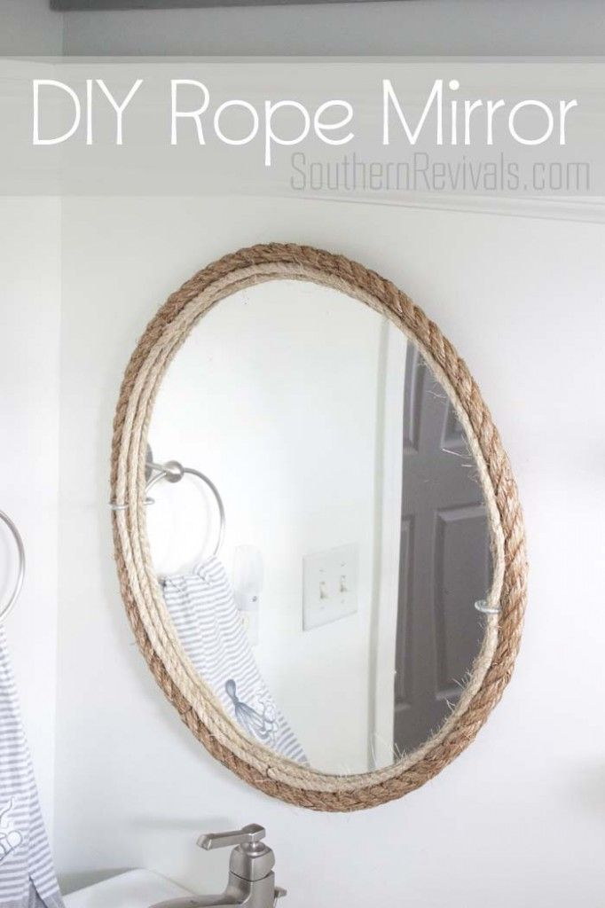 DIY Rope Bathroom Mirror Tutorial #nautical #bathroom SouthernRevivals.com