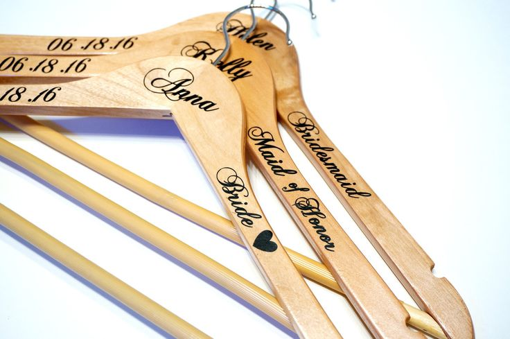 Custom Personalized Wedding Hangers, Calligraphy Wedding Dress Bride Hanger Gifts, Wedding Party Bridesmaids, Maid of Honor Photo Prop