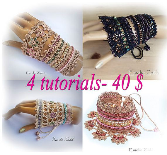 Pattern crochet  bracelet cuff. 4 tutorial PDF file+ videos for bracelet Alice.It contains detailed instructions.Bracelet cuff  pattern.
