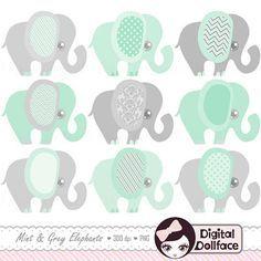 Minze grüne Elefant Clipart Baby-Dusche-Mint von DigitalDollface