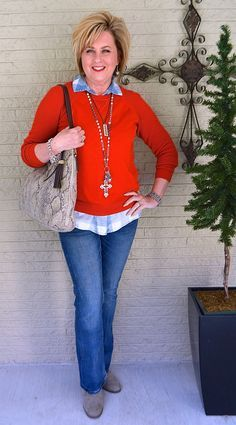 50 IS NOT OLD | GOING THROUGH A RED PHASE | Casual Outfit | Jeans and Sweater | Fashion over 40 for the everyday woman