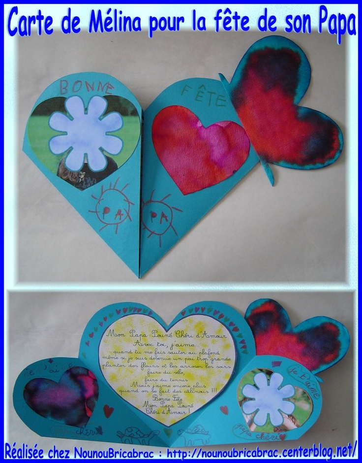 Carte Coeur de Mélina pour la fête de son Papa
