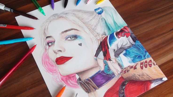 Watch me drawing Harley Quinn portrayed by Margot Robbie in the upcoming 2016 film Suicide Squad.