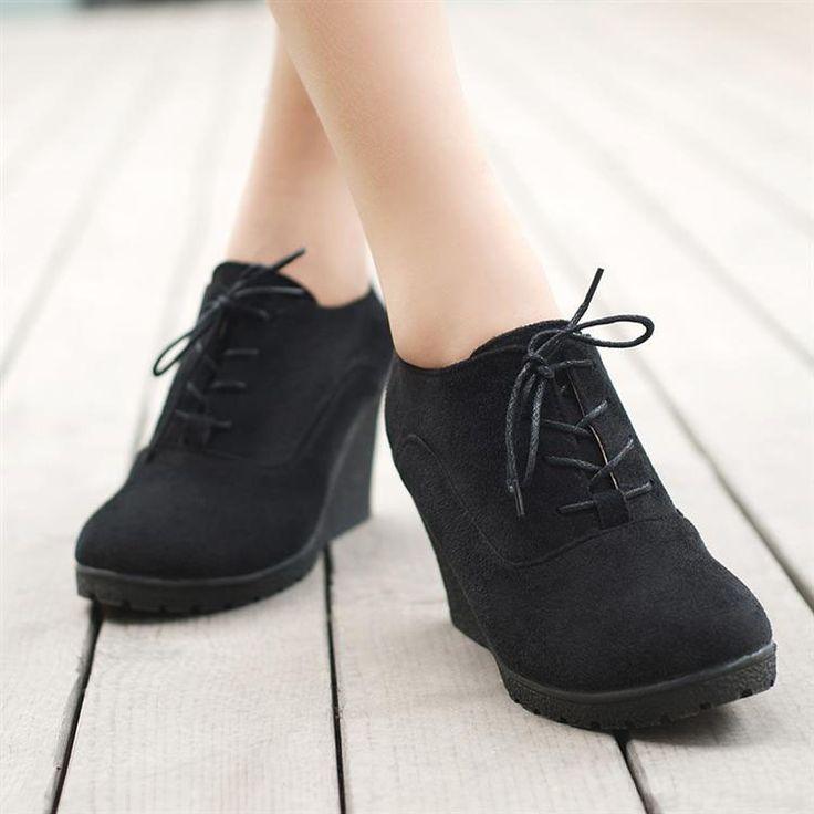 High Platform High Heeled Wedges Ankle Boots