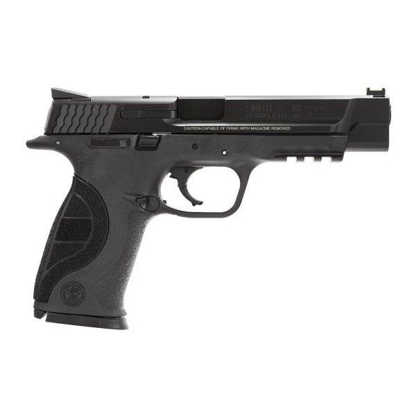 "Smith & Wesson M&P 9 Pro Series 9mm 5"" Barrel, Fiber Optic Sights 17... (1.850 BRL) ❤ liked on Polyvore featuring weapons, guns, fillers, accessories, other, backgrounds, text, effect, phrase and quotes"