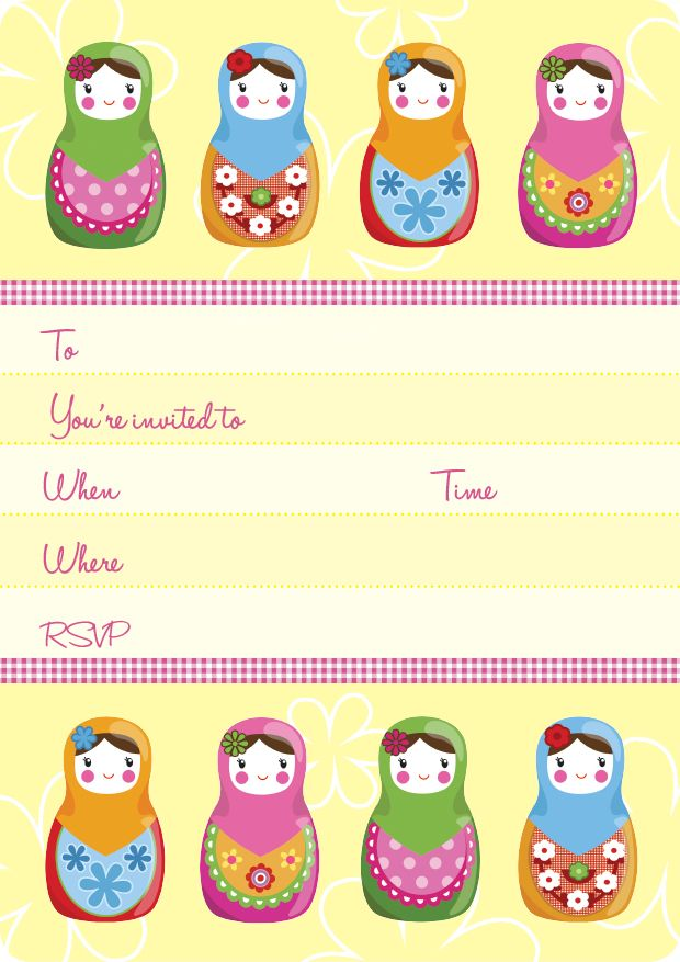 Russian Dolls Kids Party | Russian Dolls Invite Set- 15 invites + coordinating envelopes + magnets $17.50 Shop for it http://www.partymama.com.au/girls-invitations-russian-dolls-invite-set-p-5.html
