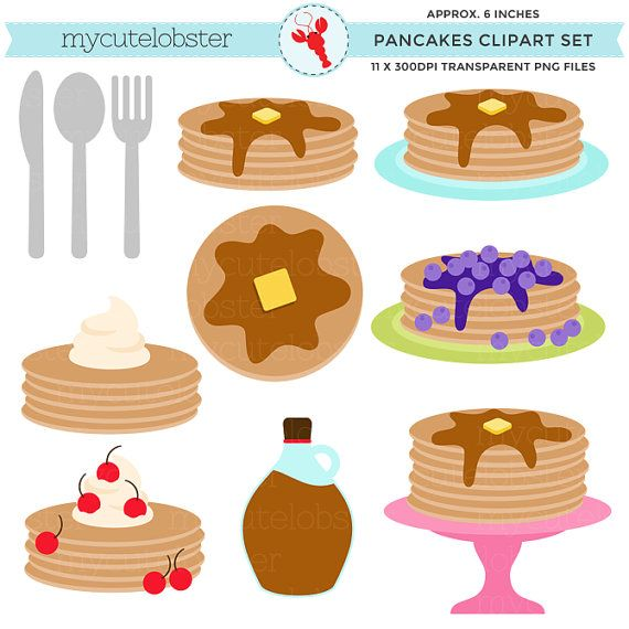 Pancakes Clipart  clip art set pancakes by mycutelobsterdesigns