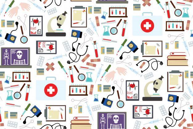Instrumentos Medicos Y Fondo De Patron De Medicamento En El Diseno De Estilo Plano Vector Premium Medico Dibujo Ideas De Fondos De Pantalla Patrones