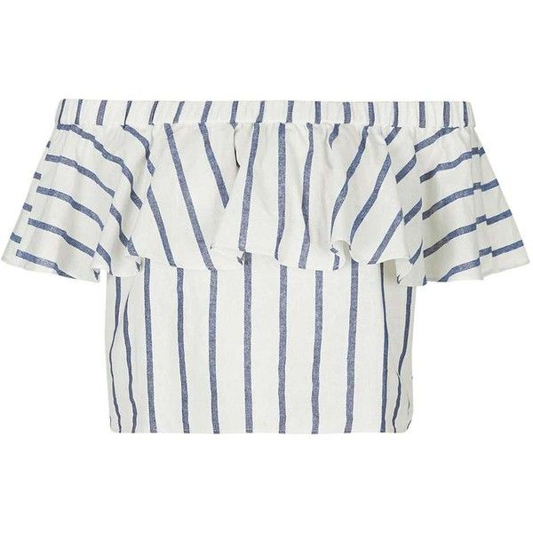 TopShop Tall Stripe Linen Bardot Top (980 UAH) ❤ liked on Polyvore featuring tops, topshop, white off the shoulder top, off the shoulder ruffle top, striped off shoulder top and topshop tops