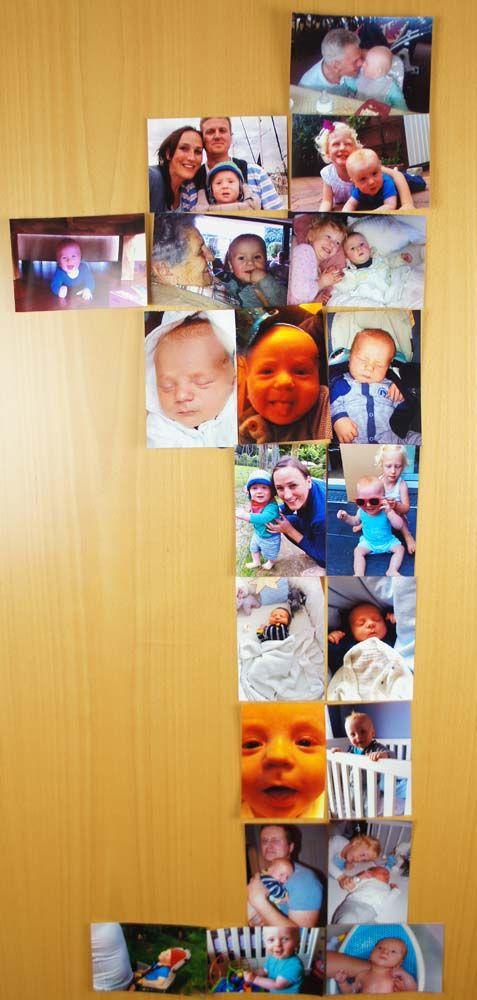 Dekoration zum 1. Geburtstag nur wie? Aus einer Fotostrecke vom ersten Jahr eine eins formen.